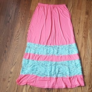 Coveted Clothing Pink & Blue Maxi Skirt Large
